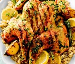 دجاج محمر بالكفتة مع الرز